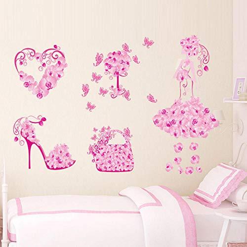 Dwqlx Bunte Blumenmädchen Tasche Schuhe Schmetterlinge Wandaufkleber Fior Kinderzimmer Herz Wandtattoos Mädchen Schlafzimmer Dekor Wandbild Poster (Dekorieren Halloween Taschen)
