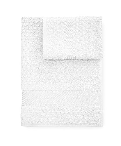 Set Handtücher Bad Schwamm Sirene Handtuch + Gästetuch Caleffi-Weiß