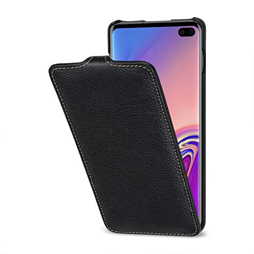 StilGut Leder-Hülle kompatibel mit Galaxy S10+ vertikales Flip-Case, schwarz