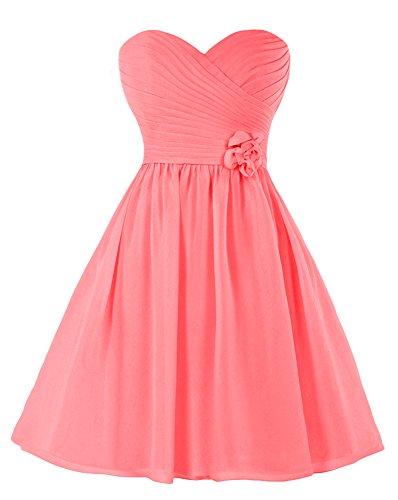 Bridal_Mall Damen Floral Chiffon Homecoming Kleid Mini Plissee Brautjungfernkleid Watermelon