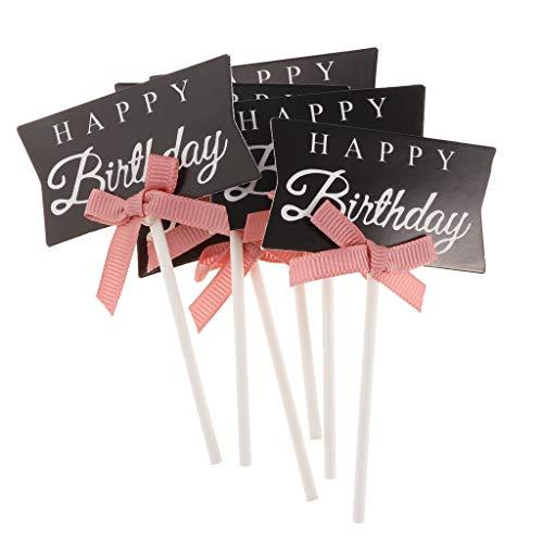 KESOTO 6X Happy Birthday Picks Topper Aufsatz Stecker Zahnstocher für Kuchen Torten Cupcake und Muffin - Schwarz
