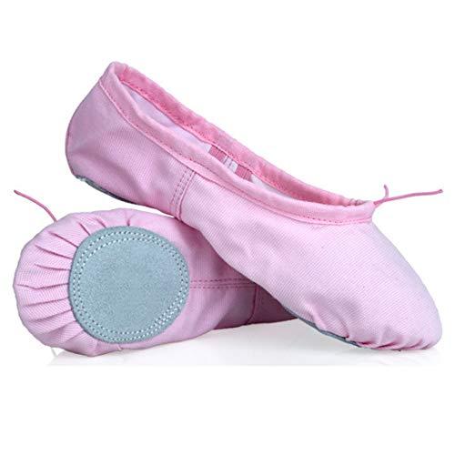 Ballettschuhe Ballettschläppchen Tanzschuhe Geteilte Ledersohle Schuhe Gymnastik Tanzen Hausschuhefür Kinder und Erwachsene (36 EU, Rosa)