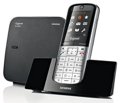 Gigaset SL350A Schnurlostelefon (TFT-Farbdisplay, Dect-Telefon, Anrufbeantworter, Freisprechen, Einfaches Telefon) metall/pianoschwarz