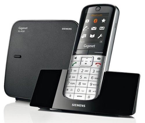 Gigaset SL350A Telefon - Schnurlostelefon/Mobilteil - mit Farbdisplay - Anrufbeantworter - Freisprechen/Design Telefon/Schnurloses Telefon - Platin schwarz