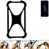 K-S-Trade Handyhülle für Bluboo Edge Schutz Hülle Silikon Bumper Cover Case Silikoncase TPU Softcase Schutzhülle Smartphone Stoßschutz, schwarz (1x)