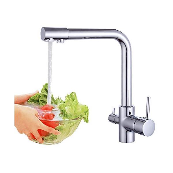 Grifo de cocina mezclador 3 en 1 YUNRUX Grifo giratorio de tres vías para sistema de ósmosis Grifo mezclador de palanca individual Grifo de baño Mezclador de grifo mezclador de baño