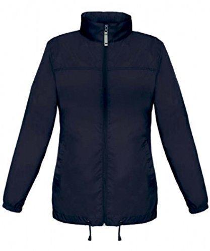ShirtInStyle Basic Femme Veste/blouson Coupe-vent Imperméable veste Imperméable avec capuche - Nylon, 34, bleu marine