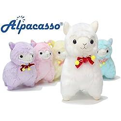 Alpaca de peluche con lazo KOSBON, peluche 100% de felpa, el mejor regalo de cumpleaños para los niños.