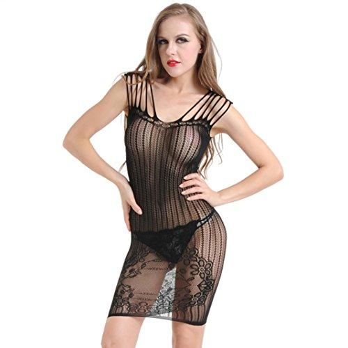 Crochet Trim Knit Skirt (Holeider Damen Sexy Unterwäsche Spitze Perspektive Sling Jacquard Skirt Netting)