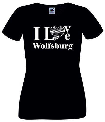 T-Shirt I Love Wolfsburg mit einer Strassaplikation / Strassherz Schwarz
