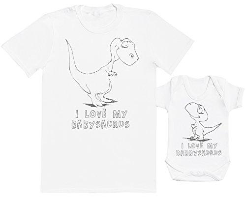 Zarlivia Clothing I Love My Daddysaurus - Ensemble Père Bébé Cadeau - Hommes T-Shirt & Body bébé - Blanc - Medium & 6-12 Mois