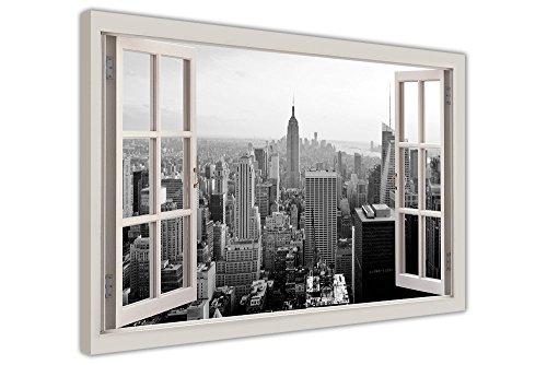 Stampa artistica finestra con vista di New York, con cornice Contemporaneo 05- A1 - 34