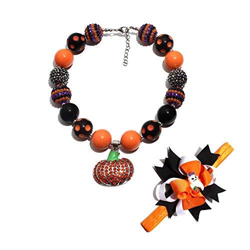 (WSX Halloween Kürbis Anhänger Kinder Perlen Halskette + Blume Set,rot,A)