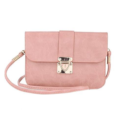 Damara Femme Sac Bandoulière Pour Téléphone Sac Porté Epaule PU,Pink