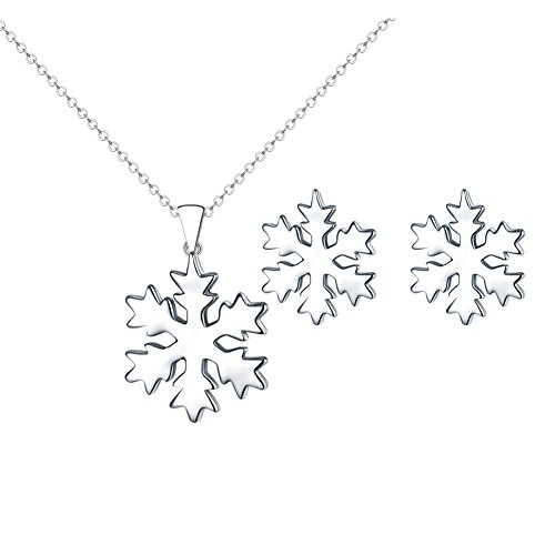 FANSING Jewellery 925 Sterling Silver Pendant Necklace and Earrings Set Snowflake