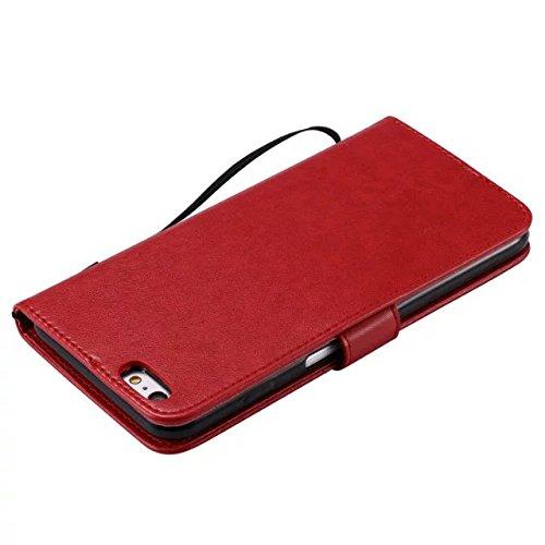 JIALUN-étui pour téléphone Avec slot pour carte, Lanyard, Pressure Beautiful Pattern Fashion Open Cell Phone Shell pour IPhone 6s Plus ( Color : Gray ) Red