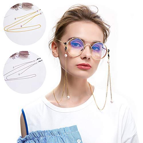 Tancurry Elegant 2Pcs Gold und Silber Gläser Schnüre Gurt Brillen Halter Perlen Brillen Kette
