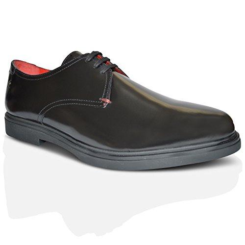 Base London Chaussures en cuir ciré cellules Noir Noir - noir