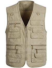b98f67bfddab6 NBNNB Outdoor Men's Multi-Pocket Reporters Photography Vest Concealed Carry  Waistcoat Sleeveless Jacket Casual Gilet