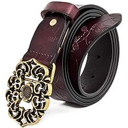 """AmyKer para mujer Cinturón de cuero genuino con pantalones vaqueros y hebilla floral, rojo, blanco, marrón, negro (Marrón, 115cm (Cintura: 35""""-37""""))"""