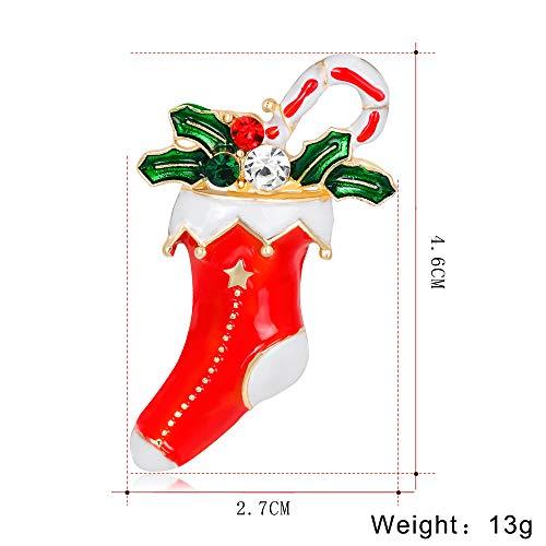 FGTYJ Nuovo Anno Moda Natale Spilla Stivali Babbo Natale Scarpe Carrozza Spilla con Strass Gioielli per La Spilla in Pietra di Colore Natale