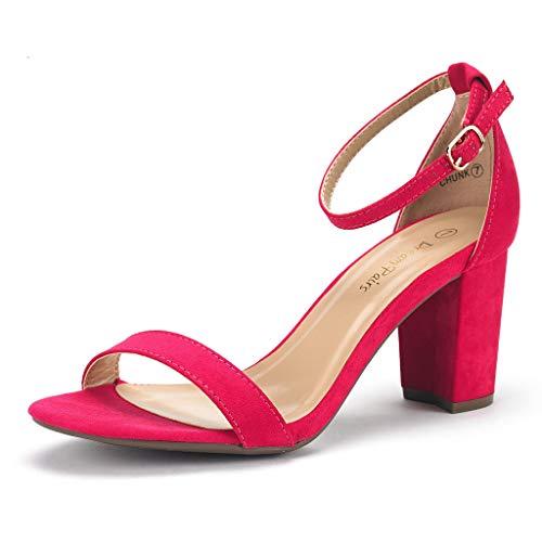 DREAM PAIRS Chunk Damen Sandalen mit Niedrigem Absatz Pink 39 EU