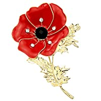 bottlewise Poppy Pin Badges 2019 Crystal Poppy Brooches Red Flowers Petal Broach Banquet Symbolic Remembrance Day Gift 43mm X 66mm (01-Style)