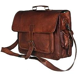 Urbankrafted Nueva Hombres Vintage Messenger Bag Hombro Laptop Maletín de cuero genuino Brown