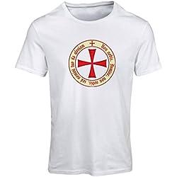 lepni.me Camiseta Mujer El Orden templario de los Caballeros Cristianos (Small Blanco