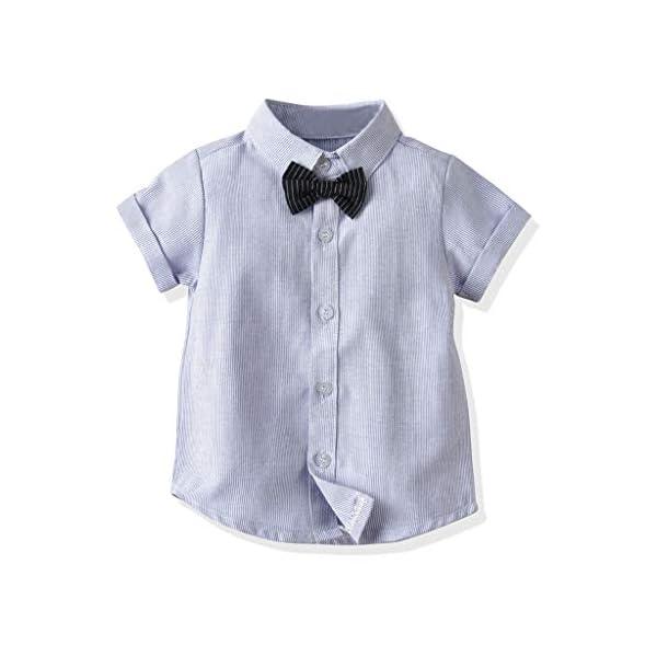 Ropa Bebé Niño Verano, K-youth Conjunto de Ropa para Niños Bautizo Ropa Bebe Recien Nacido Niño Camiseta Mangas Corta… 4