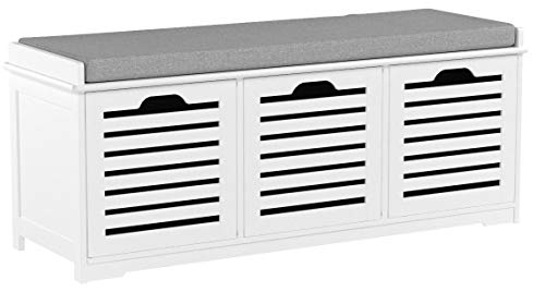 SoBuy Banco de Almacenamiento con Acolchados Cojines y 3 Cubos, Entrada Zapato Gabinete Dresser Cómodo Banco FSR23-W, ES (Zapatero)