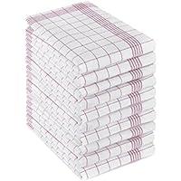 Kaufmann Handels-GmbH Lot de 10torchons-100% coton - Lavable à 95°C - Taille 50cm x 70cm - Couleur Rouge
