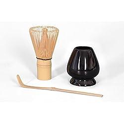 Matcha Set 3-teilig, Matcha Bambusbesen mit 100 Borsten / Chasen / Besenhalter schwarz / Matcha Bambuslöffel, Original Aricola®