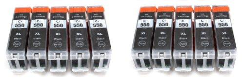Preisvergleich Produktbild 10er Set Druckerpatronen kompatibel zu Canon PGI-550 XL / schwarz / geeignet für CANON Pixma iX6850 / iP7250 / iP8750 / MG5450 / MG5550 / MG6350 / MG6450 / MG7150 / MX725 / MX925