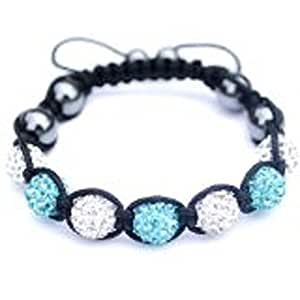 REDUCED TO CLEAR Very good QUALITY Shamballa macrame style 10mm clay Czech crystal ball Aqua Blue and Silver coloured friendship bracelet with hematite beads & black waxed cord draw string