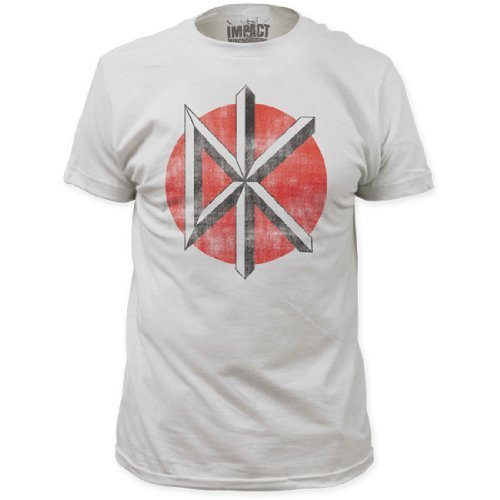 Dead Kennedys - Uomo Distressed Logo Fitted T-Shirt, Large, Vintage Bianco