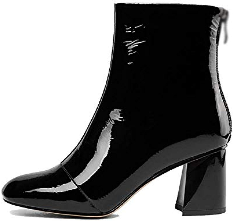 designer fashion 03c87 66f30 ZQZQ Cuir, Cuir, Cuir, Bottillons, Tête Carrée, Fermeture  à Glissière, Chaussures pour Femmes, Résistant  à ...