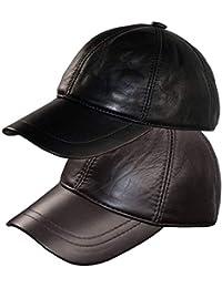 Dazoriginal Berretto da Baseball Pelle Cappellino Uomo Visiera Cappello 2  Pezzi 51ae9a1e3845