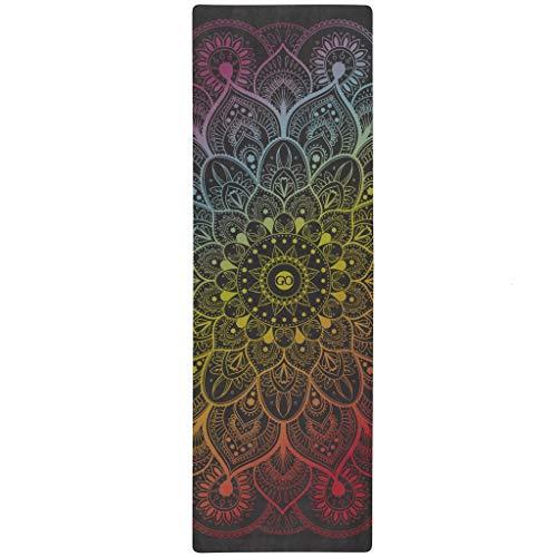 ZENAGOY GO Spirit Design Naturkautschuk Yogamatte | Mikrofaser/Handtuchoberfläche | Dicke Rutschfeste Trainingsmatte Mit Tragegurt | Ideal Für Hot Yoga, Ashtanga, Bikram, Pilates (Arco Iris)
