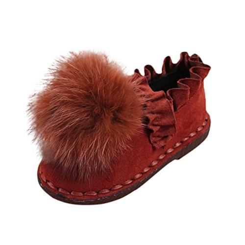 JERFER Kleinkinder Baby Mädchen Säuglinge Pelzball Anti-Rutsch Schuhe Schneestiefel Weiche Sohle Turnschuhe Freizeitschuhe Lauflernschuhe (26, Khaki) Säuglings-high-top-schuhe Mädchen