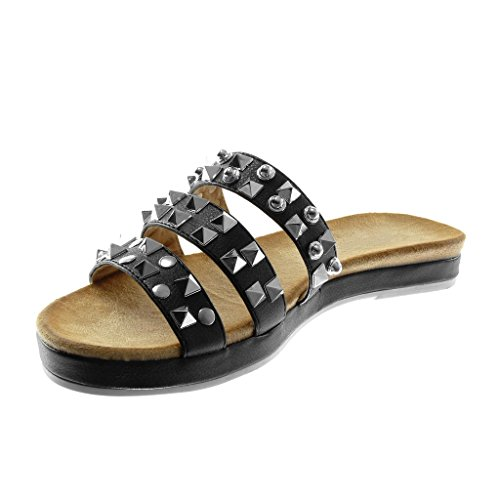Chaussures Angkorly Fashion Sandales Mules Slip-on Femmes Multi-bridon Clouté Shiny Block Heel 2.5cm Noir