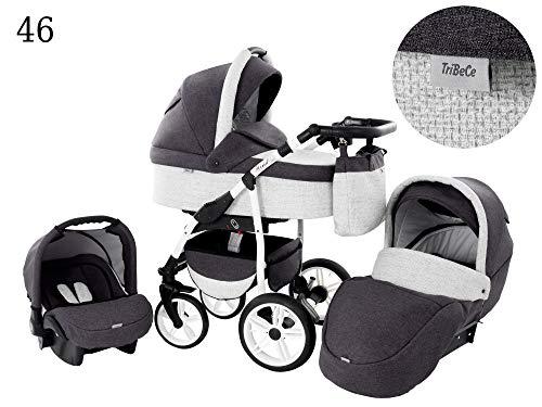 Kinderwagen Babywagen Kombikinderwagen TriBeCe Wind 3 in 1 Komplettset mit Zubehör 0-3 Jahre 0-15 kg Insektenschutz Netz Einkaufstasche Regenschutz Getränkehalter Buggy Autositz (46)