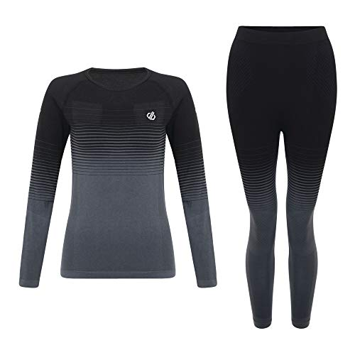 Dare 2b Damen In The Zone Perfomance Fast Wicking Quick Drying Base Layer Long Sleeve Top with Seamless Technology and Ergonomic Body Map Fit Funktionsunterwäsche, Schwarz, m -