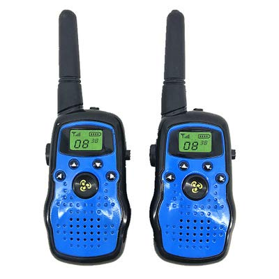 HM2 Kinder Walkie Talkies 2 Stück Long Range Kids Walky Talky UHF 446MHz 8 Kanäle Lizenz Free Two-Way Radios mit LED-Licht auf dem Top (Dark Blue)