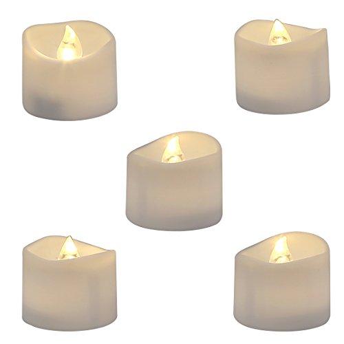 Homemory Lot de 12 Lumières Bougies à LED, Sans Flamme, Réaliste et Bright, Puissance de la Batterie, Fausses Bougies électriques pour Votive, Table Party Anniversaire Mariage(blanc chaud)