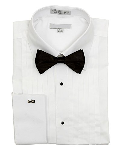 Sunrise Outlet Men's Pointed Collar French Cuff Pleated Tuxedo Shirt Black Bow Tie - 14.5 32-33 (Button-down-tuxedo)