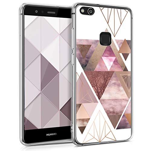 kwmobile Huawei P10 Lite Hülle - Handyhülle für Huawei P10 Lite - Handy Case in Glory Dreieck Muster Design Rosa Rosegold Weiß