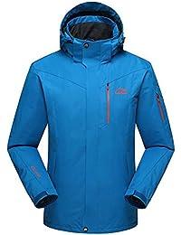 Chaquetas Chaqueta de esquí de los hombres al aire libre invierno impermeable cálido a prueba de viento aislado gorra desmontable transpirable ( Color : Lake blue , tamaño : XXXXXL )
