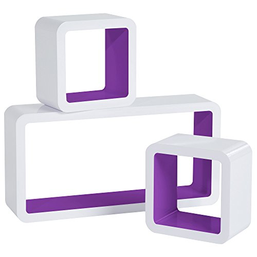 WOLTU RG9229dla Wandregal Cube Regal 3er Set Bücherregal Regalsysteme, Retro Hängeregal Würfel, weiß-Lila
