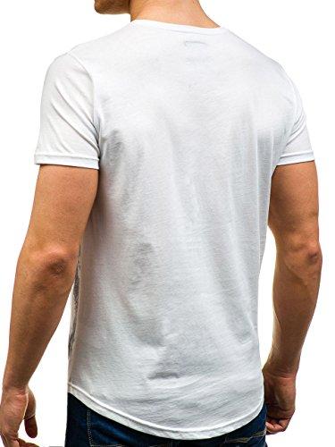 BOLF Herren T-Shirt Tee Kurzarm Party Slim Fit Casual Rundhals Print 3C3 Motiv Weiß